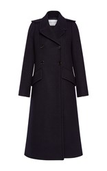 Sonia Rykiel Long Soft Wool Pea Coat Navy