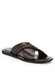 Saks Fifth Avenue Leather Criss Cross Sandals Dark Brown