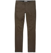 Acne Studios Max Satin Slim Fit Stretch Cotton Chinos Green