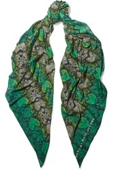 Marc By Marc Jacobs Snake Print Cotton And Silk Blend Scarf Green