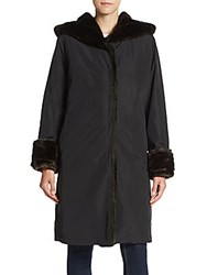 Jane Post Faux Fur Trimmed Princess Coat Black