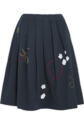 Mira Mikati Pleated Embroidered Cotton Twill Skirt Navy