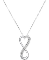 Macy's Diamond Infinity Heart Pendant Necklace 1 10 Ct. T.W. In Sterling Silver