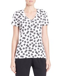 Lord And Taylor Floral V Neck Tee White Black
