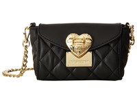 Love Moschino Quilted Flap Front Heart Crossbody Black