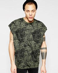 Asos Super Oversized T Shirt With Splash Print And Wide Neck Trim In Khaki Thyme Green