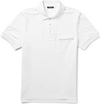 Berluti Leather Trimmed Cotton Pique Polo Shirt White