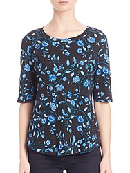 Rebecca Taylor Kyoto Floral On Linen Jersey Tee Black
