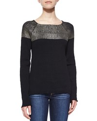 Suno Long Sleeve Colorblock Top Black