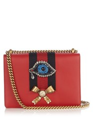Gucci Peony Leather Shoulder Bag Red