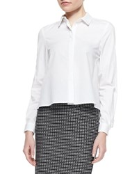 Zac Posen Long Sleeve Blouse With High Low Hem White