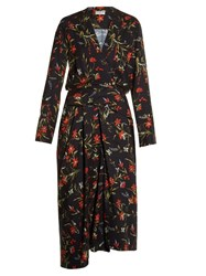 Balenciaga Coquelicot Print Midi Dress Black