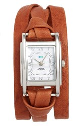 La Mer Women's Collections 'Milwood' Leather Wrap Watch 35Mm Brown Silver