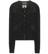 Dolce And Gabbana Lace Trimmed Cardigan Black