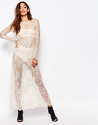 Religion Long Sleeve Sheer Lace Maxi Dress Nude Multi