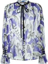 Roberto Cavalli Feather Print Blouse Blue