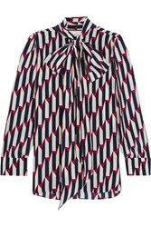 Gucci Pussy Bow Printed Silk Crepe De Chine Shirt Navy