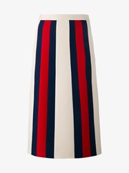 Gucci Wool Silk Blend Web Stripe Skirt White Multi Coloured Navy Denim