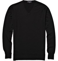 John Smedley Bobby V Neck Merino Wool Sweater Black