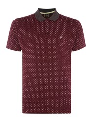 Merc Short Sleeve Polka Dot Polo Wine