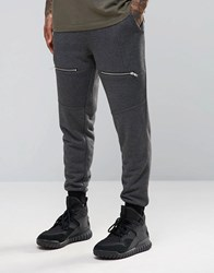 Asos Skinny Joggers With Biker Detail In Charcoal Marl Charcoal Marl Grey