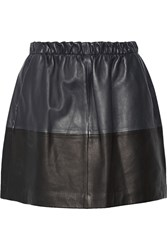 Vince Two Tone Leather Mini Skirt Blue
