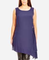 City Chic Plus Size Asymmetrical Side Tie Tunic Navy
