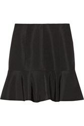 Tibi Fluted Silk Faille Mini Skirt Black