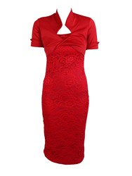 Feverfish Bolero Lace Bodycon Dress Red