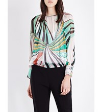 Emilio Pucci Archive Print Silk Chiffon Top Green Multi