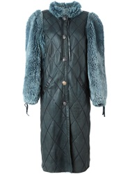 Christian Dior Vintage Quilted Panelled Sleeve Coat Blue