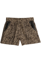The Kooples Leopard Print Shorts With Leather