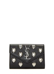 Saint Laurent Heart Studded Envelope Wallet Black