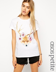 Asos Petite Boyfriend T Shirt With Fox And Antlers