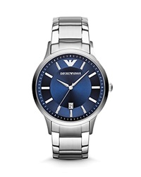 Emporio Armani 3 Hand Blue Dial Watch 46Mm Silver