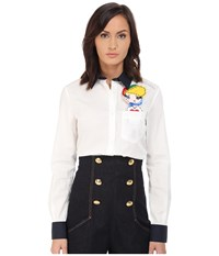 Love Moschino Long Sleeve Button Up W Pocket Girl Detail White Women's Long Sleeve Button Up