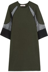 See By Chloe Tulle Paneled Jersey Knit Mini Dress Green