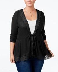 American Rag Trendy Plus Size Peplum Cardigan Only At Macy's Classic Black