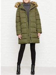 Parka London Thelma Padded Faux Fur Trimmed Coat Olive