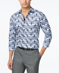 Inc International Concepts Men's Scatter Geo Print Long Sleeve Shirt Only At Macy's Navy