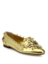 Dolce And Gabbana Studded Metallic Leather Loafers Gold