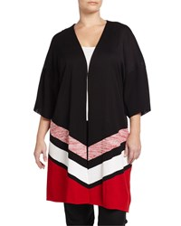Misook Plus Long Heritage Fit Striped Knit Jacket Black Red White