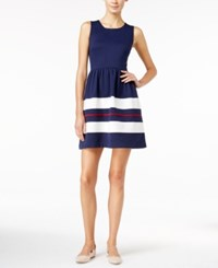 Maison Jules Striped Fit And Flare Dress Only At Macy's Blu Notte Combo