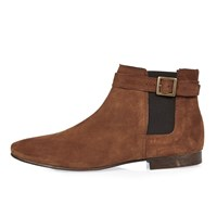 River Island Mens Medium Brown Buckle Strap Chelsea Boots