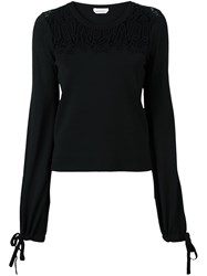 Chloe Embroidered Lace Jumper Black