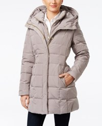 Cole Haan Hooded Down Puffer Coat Light Brown