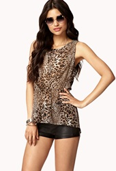 Forever 21 High Low Leopard Top Brown Black
