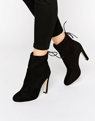 Glamorous Tie Back Heeled Ankle Boots Black Mf