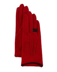 Portolano Cashmere Blend Gloves W Leather Bow Red Black