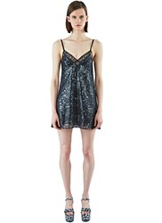 Saint Laurent Sequinned Lace Slip Dress Black